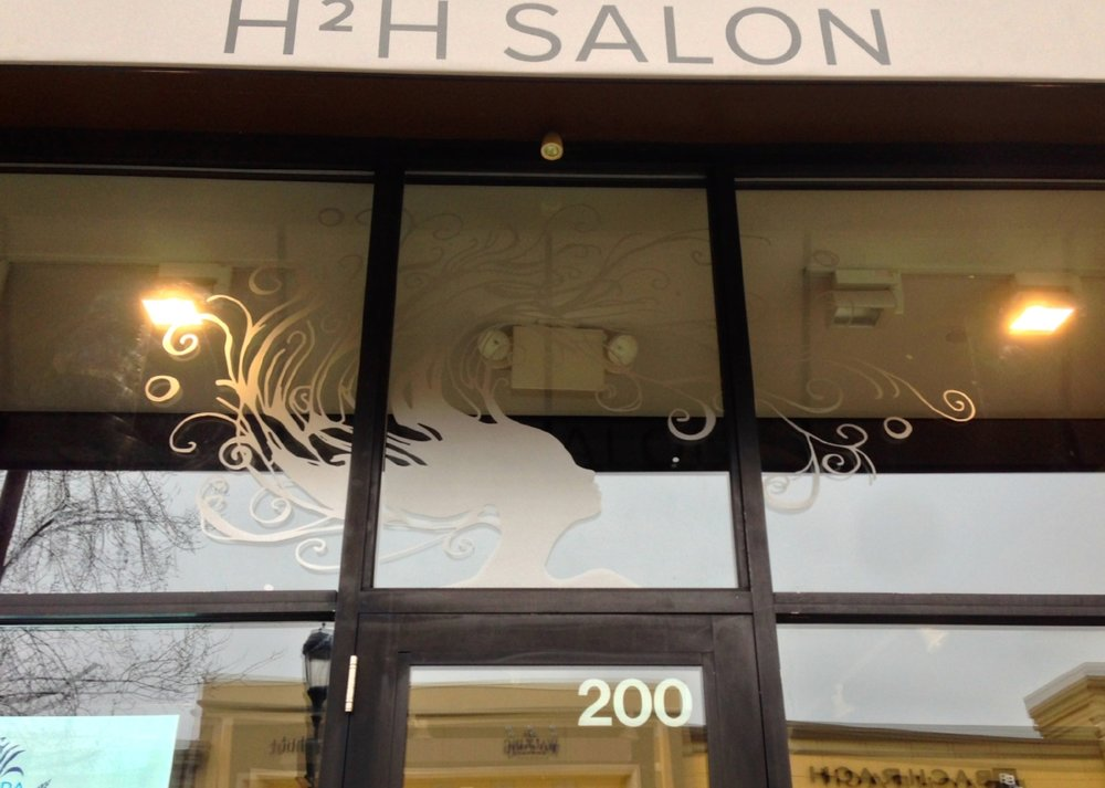 Etched Vinyl Window Graphics for H2H Salon
