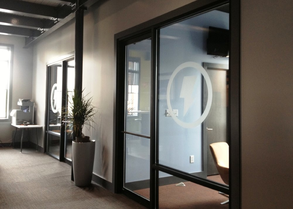 Interior Office Window Etched Graphics for Trendy Minds