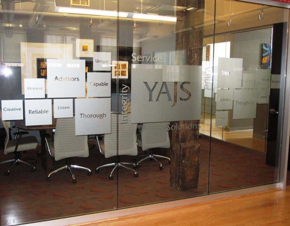 Etched Vinyl Window Graphics for YAJS