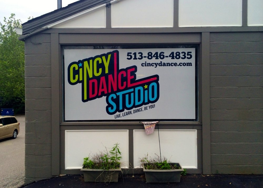 Digitally Printed Window Perf for Cincy Dance Studio