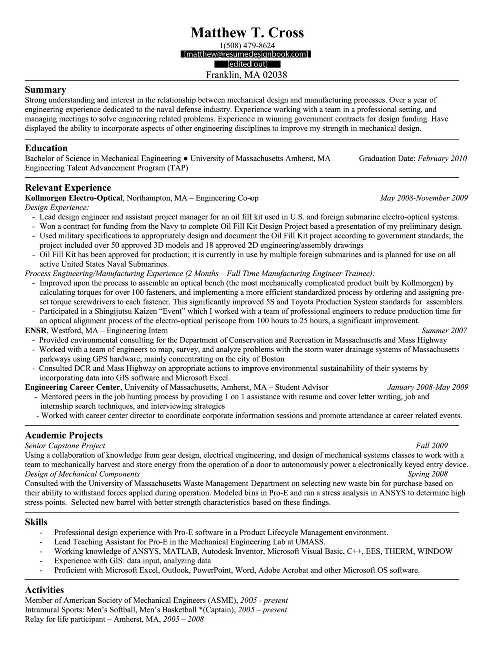 Format Examples The Resume Design Book