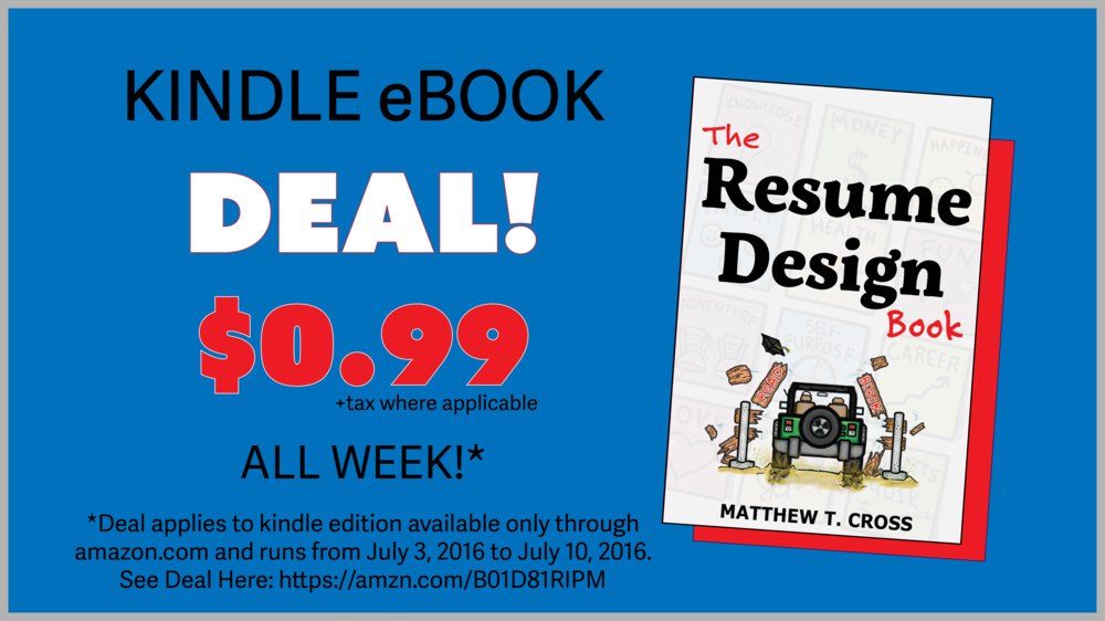 The Resume Design Book by matthew t cross July Kindle EBOOK Deal