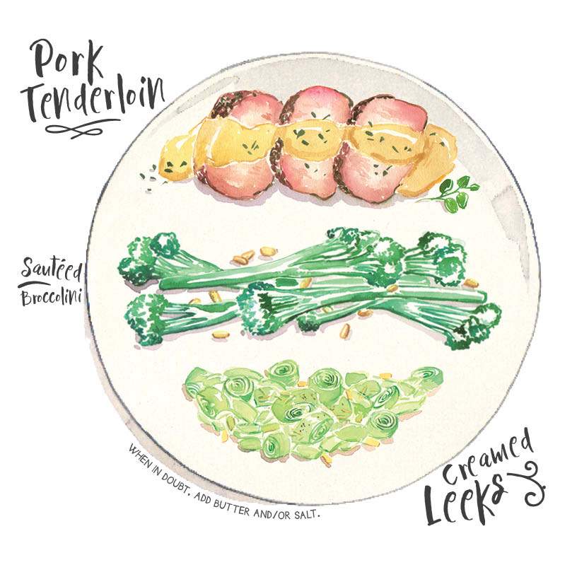 pork tenderloin broccolini leeks.jpg