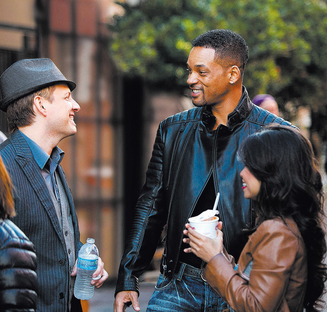Ava Do & Apollo Robbins with Will Smith on the set of WB film Focus in New Orleans