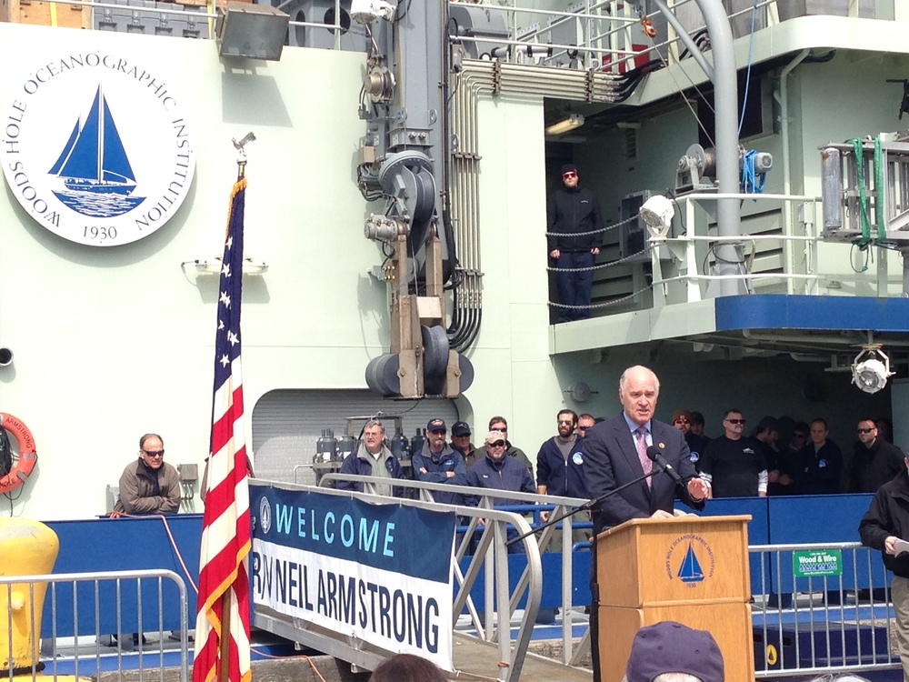 Representative Keating delivers remarks at the welcome ceremony for the  R/V Armstrong , the newest member of WHOI's research fleet.
