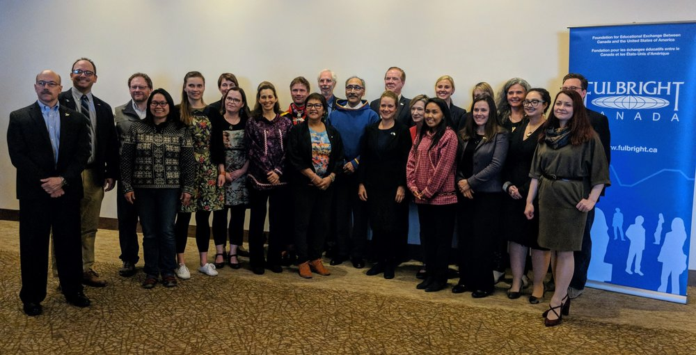 Fulbright Arctic Initiative scholars, local dignitaries, distinguished alumni, and Fulbright program leaders in Iqaluit, Nunavut, Canada. (Photo credit: Steve Money)