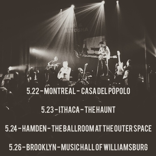 HAPPY FRIDAY! Thank you Toronto for a welcoming show last night! Got to catch up with some @dinealonerecords folks! Happy 10th anniversary by the way ;) Here is a little reminder of what's up ahead for us in the next few days:    TONIGHT! MONTREAL! @casadelpopolo ! Come on out! Also it's @krisorlowski 's birthday! He will be opening the show!    5.23 - ITHACA - THE HAUNT    5.24 - CAMDEN - THE BALLROOM AT THE OUTERSPACE    5.26 - BROOKLYN - MUSIC HALL OF WILLIAMSBURG    SEE YOU SOON!