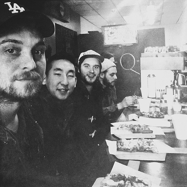 After a red eye flight to Chicago, the I&A boys get down on some pizza before we catch some zzz. Anticipating a fun time tomorrow at The Empty Bottle!