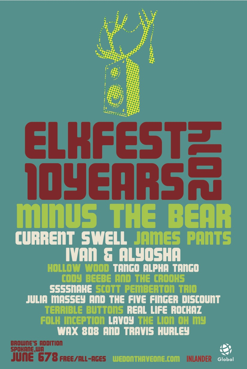 We are so stoked to announce that we will be playing at Elkfest in Spokane, WA, June 6th-8th! The best part? It's a FREE festival. It'd be so rad to see you in the crowd!    Check out the sweet festival atmosphere in this highlight video from last year's Elkfest:  http://vimeo.com/70836045