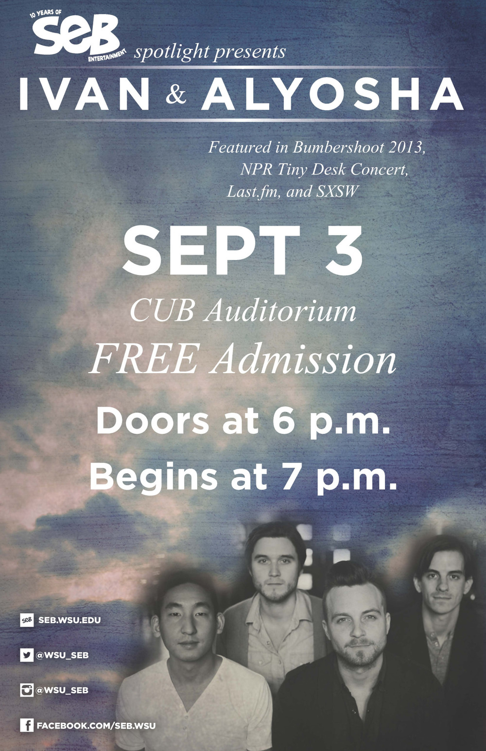 Guess who's playing a FREE show today?! We are! All are welcome to our show at Washington State University tonight at 7pm at CUB Auditorium. WSU students, that's perfect timing for a study break!