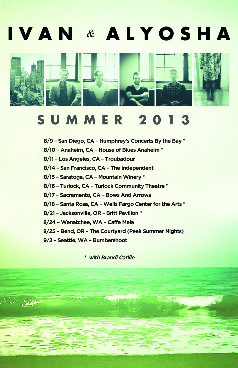 Summer Tour Dates!!! Can't wait to get back on the road w/ Brandi Carlile and Crew!