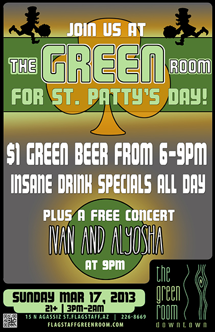No better way to spend St. Patrick's Day than with us! And how fitting that we're playing at the Green Room?! See you there tonight at 9pm Flagstaff, AZ!