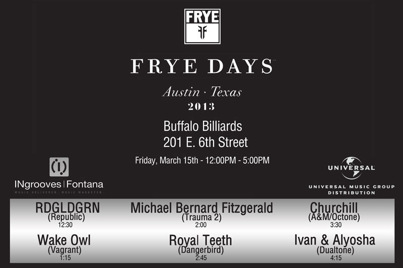 This afternoon at SXSW we are playing at the Frye Boots Showcase at Buffalo Billiards, 201 E. 6th St., 4:15pm-4:45pm!