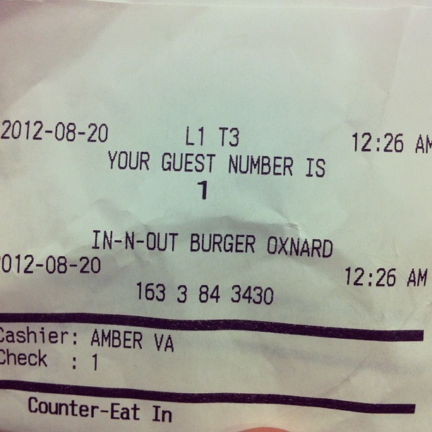 In-N-Out guest #1. Making our mothers proud. (Taken with  Instagram )