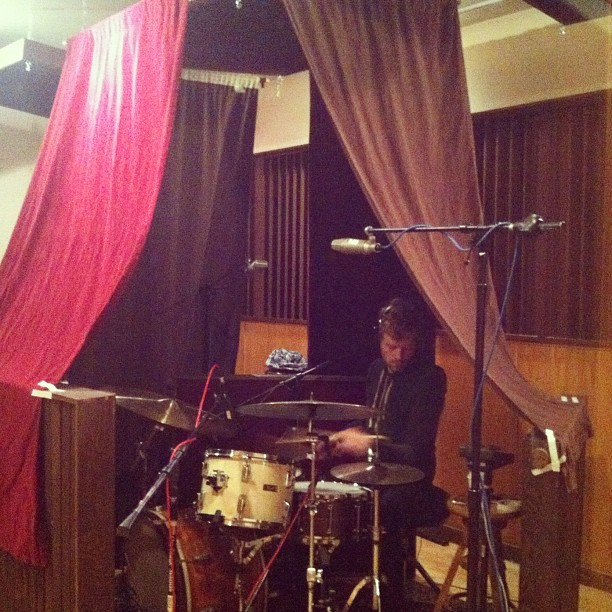 Unlike the other kids, James would bring his drums into his blanket tent. (Taken with instagram)