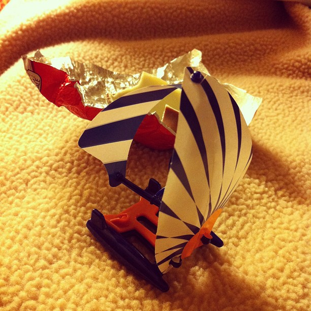 My new kinder sail boat. I'm going to the hot tub. (Taken with instagram)