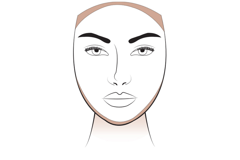 To slim the face, brush the contour colour across the hairline and along the jawline, blending down the neck.