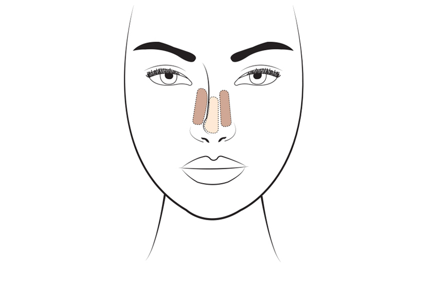 To slim the nose, place the darker contour shade down either side of the nose, and add a highlight down the centre.