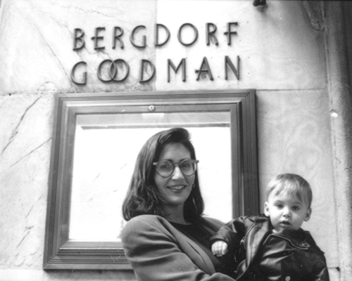 Bobbi Brown with her son Dylan outside Bergdorf's in '91, when the store launched her brand