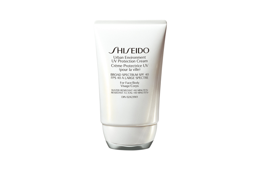 Shiseido Urban Environment UV Protection Cream SPF 40, $40, employs ingredients like thiotaurine and rose apple leaf extract to defend against oxidative damage from air pollutants.