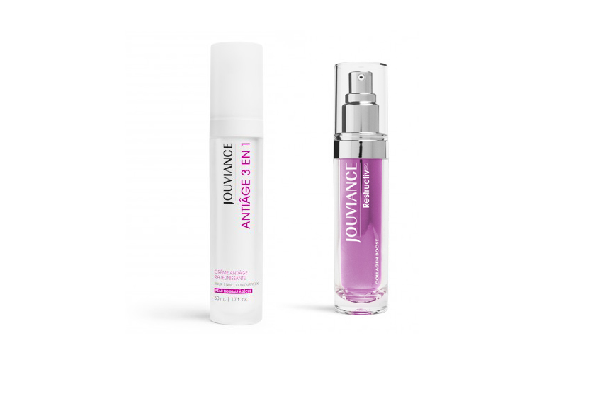 The brand's flagship product, 3-in-1 Anti-Age Cream, and the new Restructiv Collagen Boost
