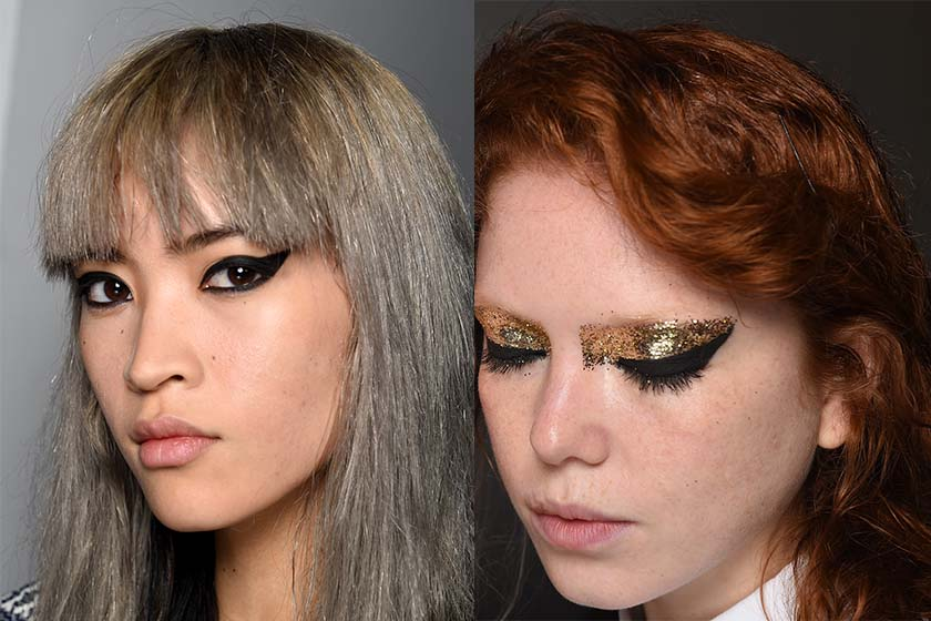 CREATURES OF THE WIND (Photo: Nars):  Siouxsie Sioux was the muse for artist Aaron de Mey's punky, black cat-eye (Black Valley Eye Paint + Black Moon Eyeliner Pencil and more), glammed up with gold glitz.