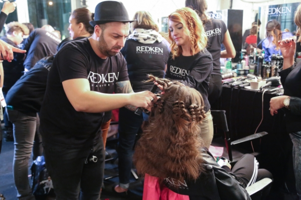 Jorge Joao working his backstage magic at #WMCFW (Photo: Jeremy Vo)