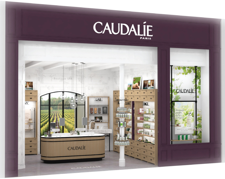 Renderings of Caudalie's new boutique spa at CF Sherway Gardens in Toronto