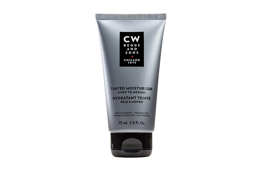 CW Beggs and Sons, Groupe Marcelle's new line for him, includes Tinted Moisturizer in two shades, $28, and prestige-priced anti-aging formulas like the Platinum Elixir, $84