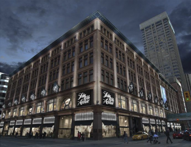 Rendering of Canada's First Saks Fifth Avenue, at Yonge/Queen in Toronto