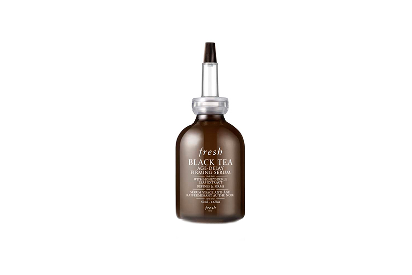 A proprietary complex, featuring black tea ferment plus other botanical extracts, inhibits free-radical damage.  Fresh Black Tea Age-Delay Firming Serum, $100
