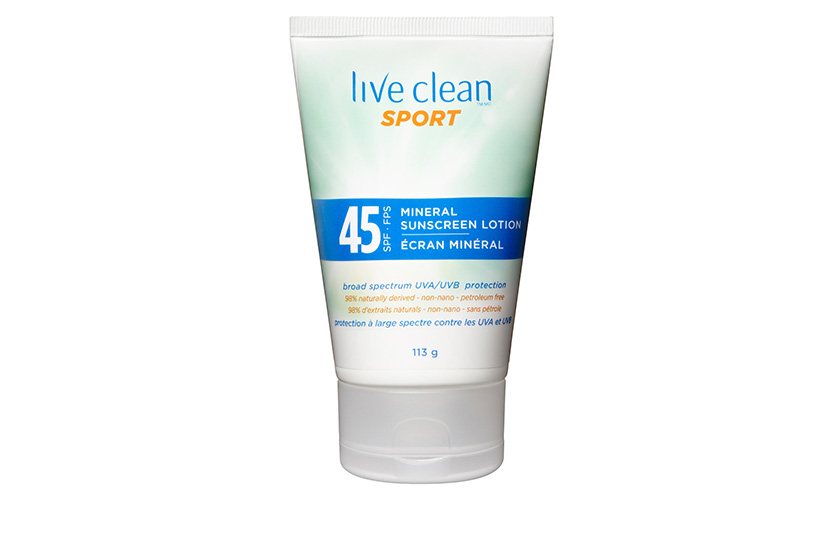 Live Clean Sport Mineral Sunscreen Lotion SPF 45, $17, at Shoppers Drug Mart and Walmart