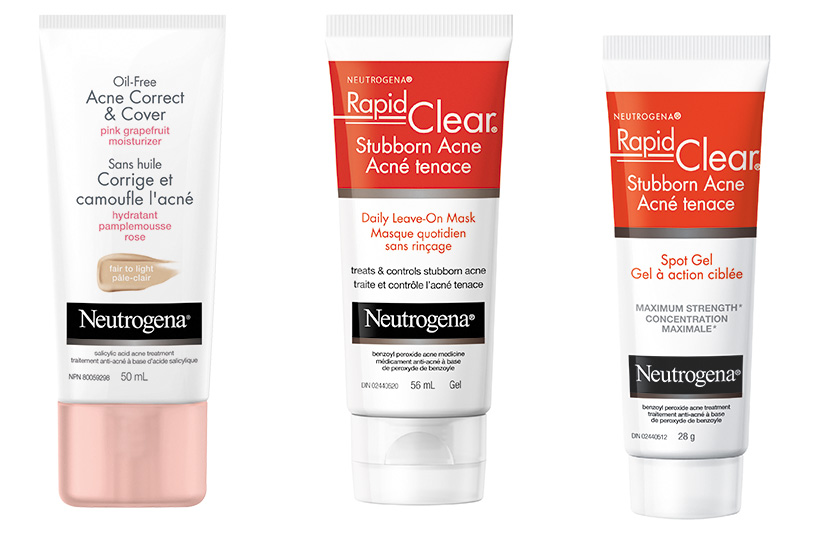 Neutrogena Rapid Clear Stubborn Acne, $10 each, at drugstores