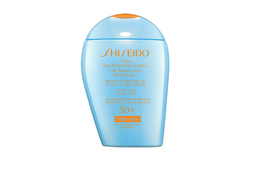 Shiseido Ultra Sun Protection Lotion S for Sensitive Skin SPF 50+ is water-resistant for up to 80 minutes.  $49, at Shiseido counters