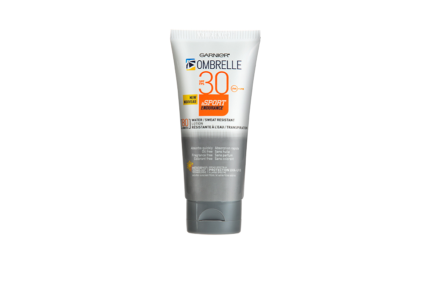 Garnier Ombrelle Sport Endurance SPF 30 provides up to 80 minutes of water- and sweat-resistance, and can be applied on wet skin.  $20, at drugstores
