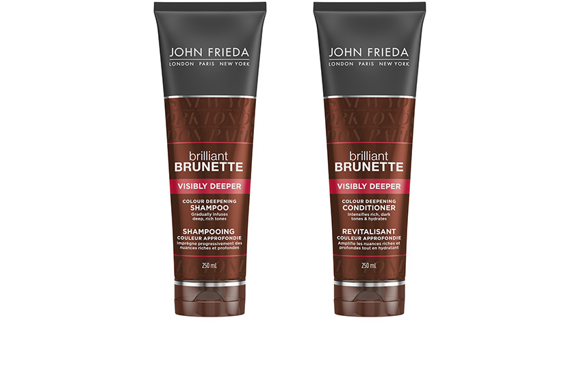 John Frieda Brilliant Brunette Visibly Deeper Colour Deepening Shampoo and Conditioner give brunettes a gradual, semi-permanent hint of darker colour between salon visits.  $13 each, at drugstores