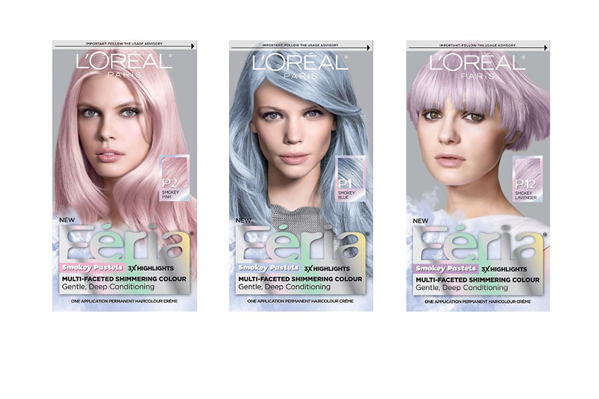L'Oréal Paris Féria Smokey Pastels transform pre-lightened blondes to a permanent pastel: pink, blue or lavender.  $15 each, at drugstores