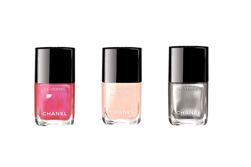 Chanel Le Vernis in (from left) Longwear Hyperrose Glass, Velvet Pink Rubber and Longwear Liquid Mirror, $32