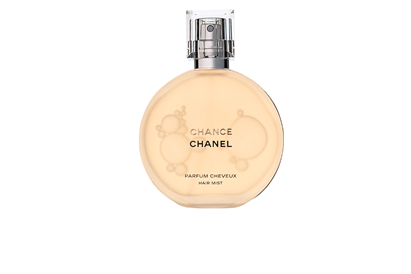"Chanel Chance Parfum Cheveux, $46.  ""Made with protective polymers and less alcohol than typical perfume, this gorgeous-smelling mist won't dry out strands."""