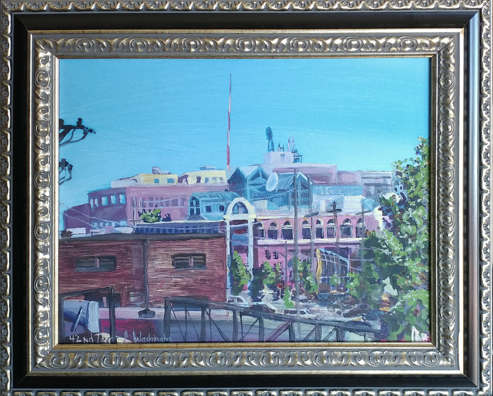 Plein air of Westport entertainment district. Casein on canvass frame is 18x15 inch.