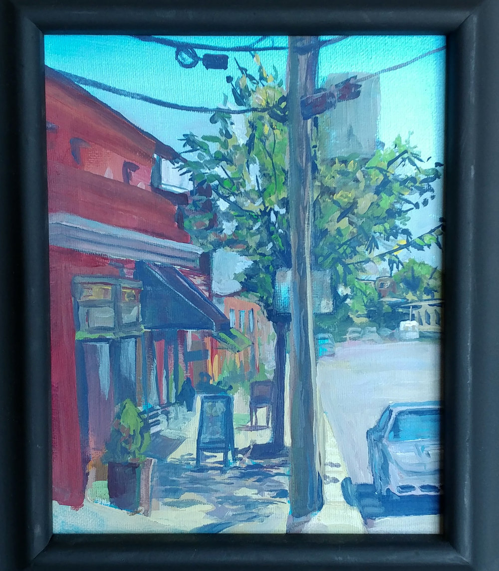 Westport plein air- Westport Creative Cold Snow Art store. Casein on 8X10 canvass. $110