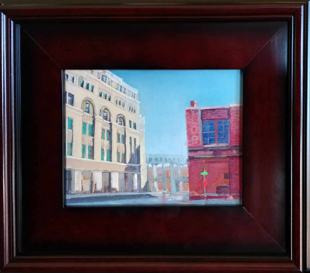 West Bottoms 01 KCK. 6X8 oil on board, Frame is 11X14 inch.