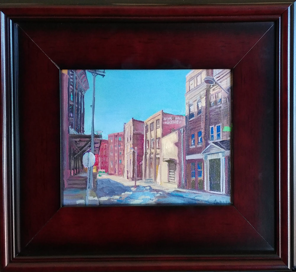 West Bottoms 02 KCK. 6X8 oil on board, 6X8 oil on board. $225 $250 with 11X14 mahogany frame.