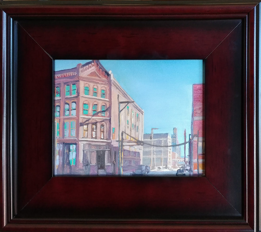 West Bottoms 03 KCK. 6X8 oil on board, 6X8 oil on board. $225 $250 with 11X14 mahogany frame.
