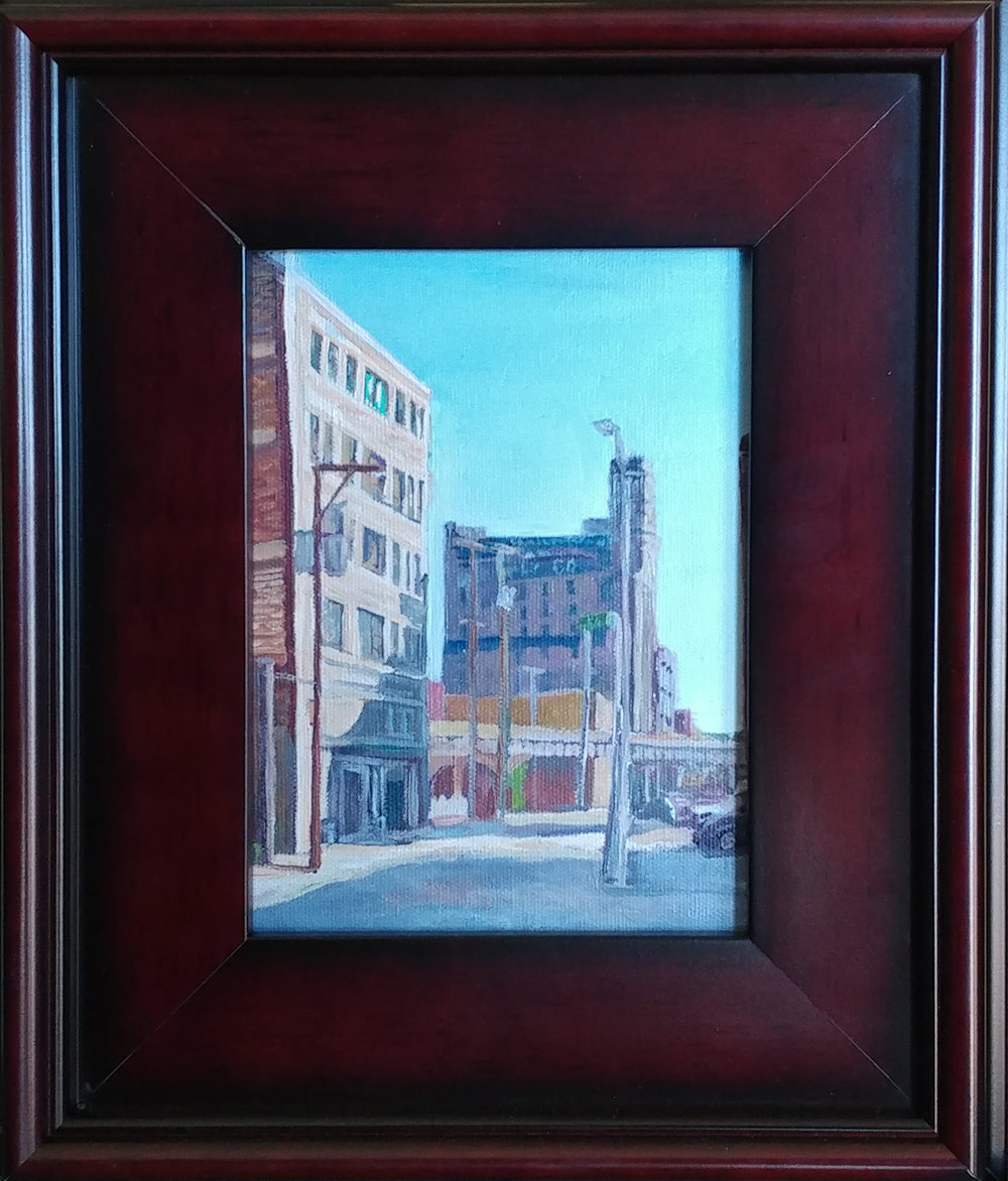 West Bottoms 03 KCK. 6X8 oil on board. $225 $250 with 11X14 mahogany frame.
