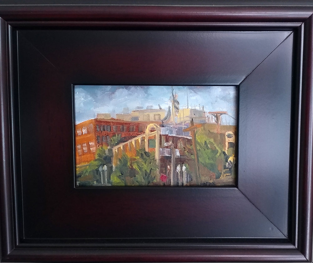 Westport plein air- Westport Block KCMO. 4X6 oil on board $110, $150 with 9X11 mahogany frame.