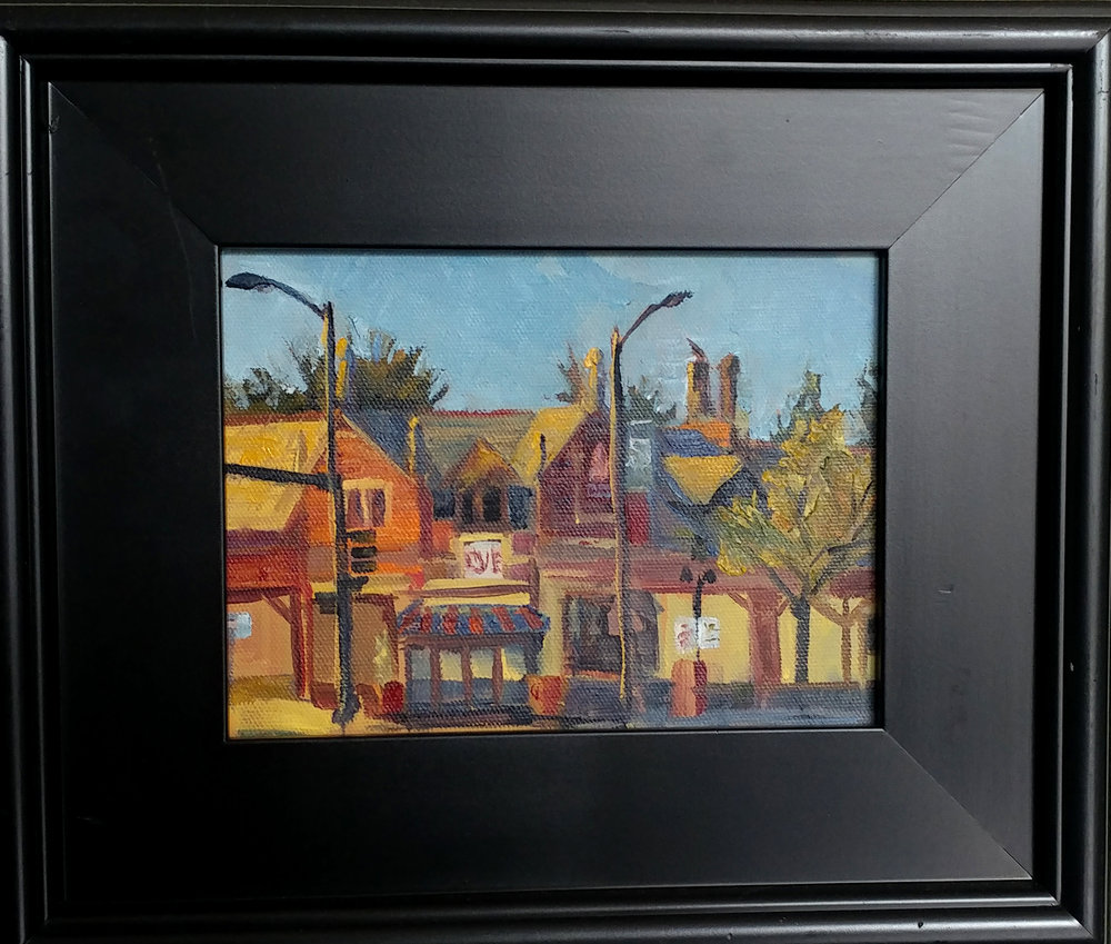 Brookside plein air- 63rd and Brookside road. 6X8 oil on board $150. $190 with 11X14 mahogany frame.