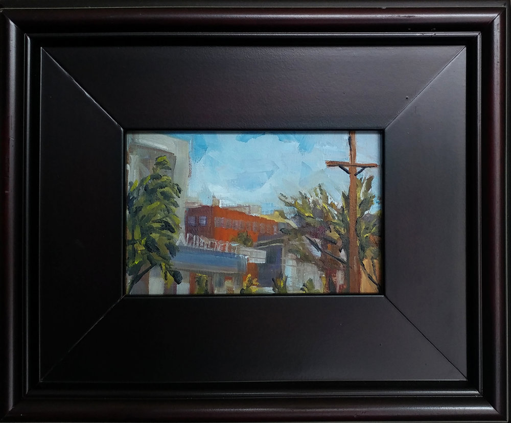 Westport plein air- Westport road KCMO. 4X6 oil on board. $110, $150 with 9X11 mahogany frame.