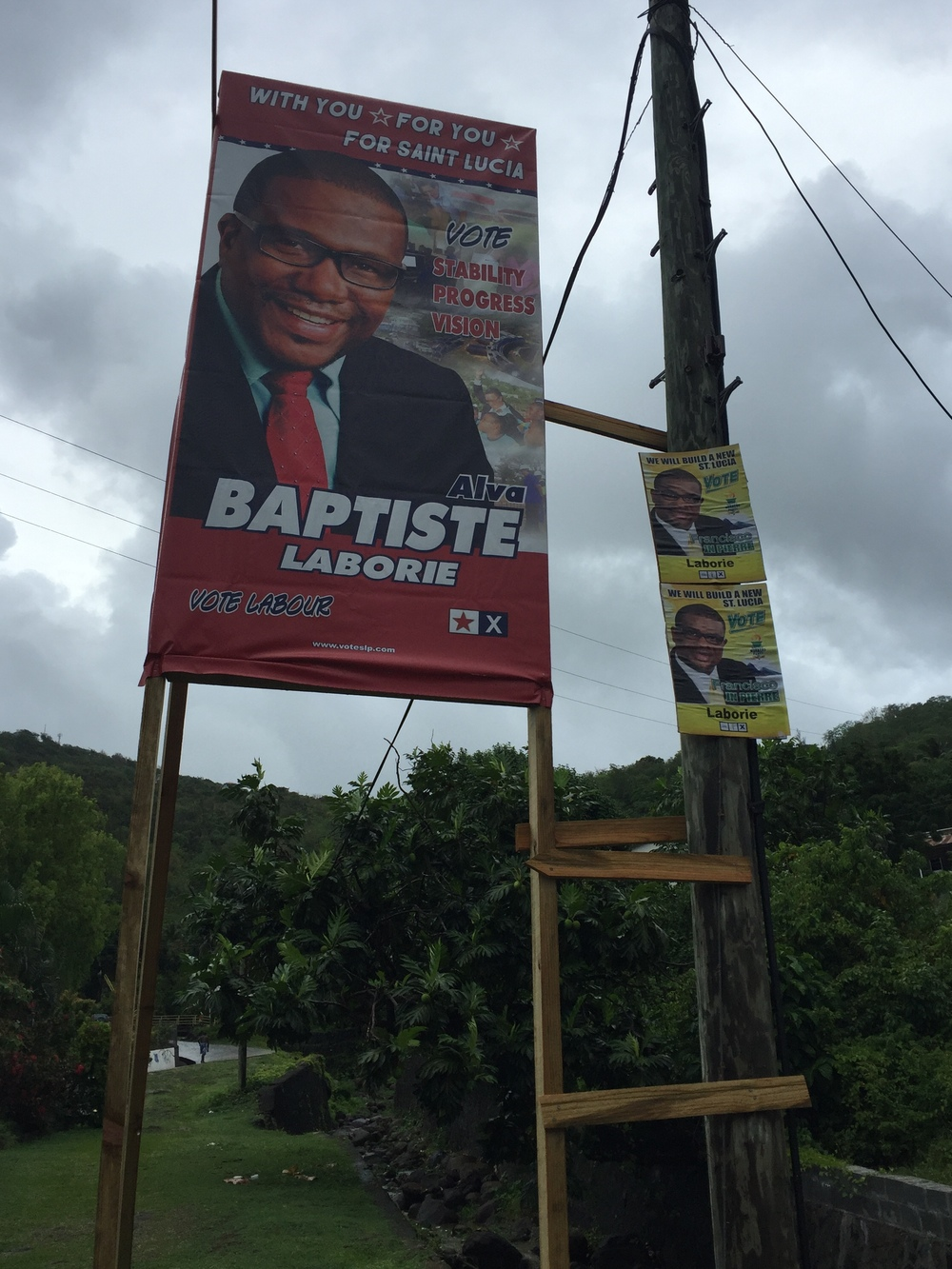 Ads for the two candidates for the Laborie constituency. Though if you look closely at the pictures they could be twins.