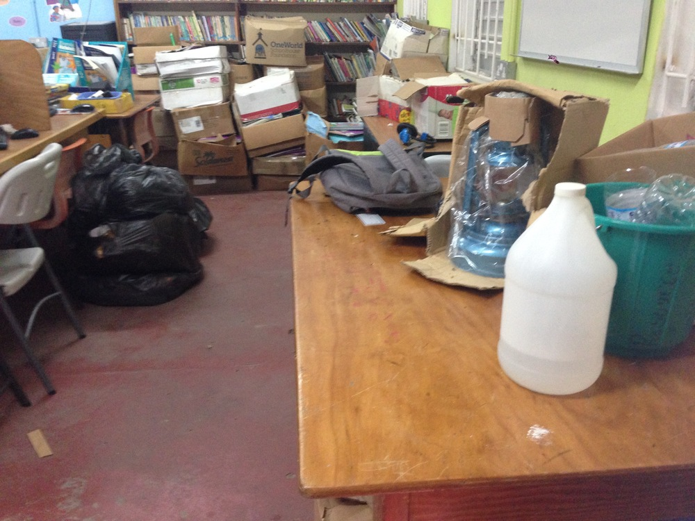 One major part of the transition was opening and organizing the dozens of boxes and two barrels of books that had been donated. Unfortunately, the vast majority of the books that had been donated were unsuitable for a children's library in the Caribbean.